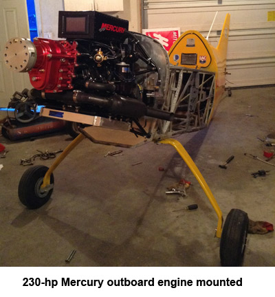 230-hp Mercury outboard engine mounted