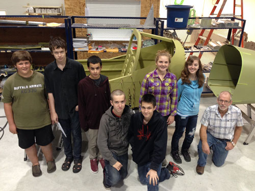 Some of the TeenFlight group with Bill Alder, Sealand Aviation.