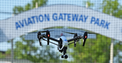 Aviation Gateway Park Drone Cage at EAA
